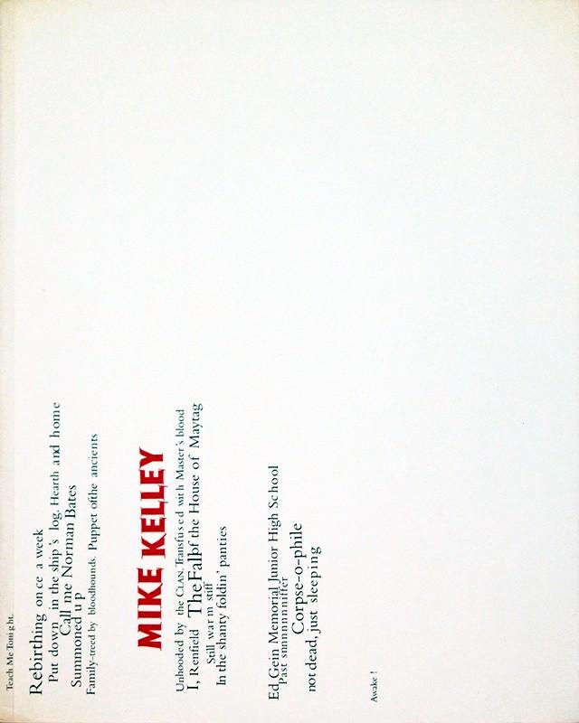 Mike Kelley: 1985-1996 | マイク・ケリー 作品集