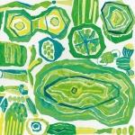 ハンカチ Green Parade ホワイト×グリーン | 椎木彩子